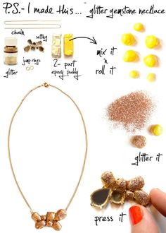 DIY: Glitter Gemstone Necklace from P.S.-I Made This