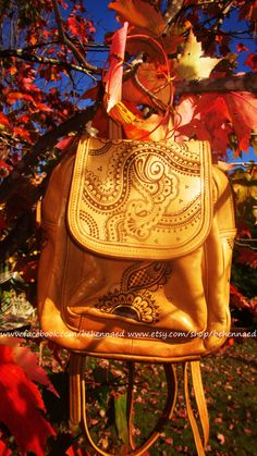 Upcycled leather backpack, OOAK, pyrographed henna mehndi designs on Etsy