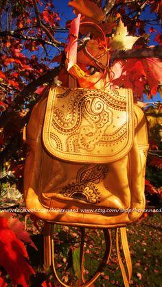 Upcycled leather backpack, OOAK, pyrographed henna mehndi designs on Etsy