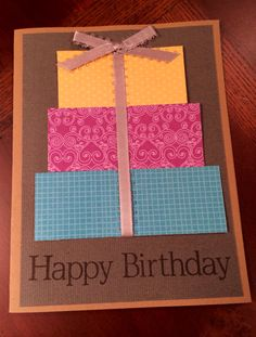Handmade happy birthday card with ribbon.