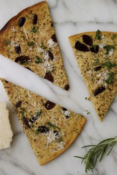 Olive Studded Chickpea Rosemary Flatbread | In Pursuit Of More