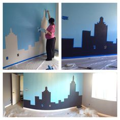 My son love super heroes so I wanted to painted something simple that will work with the decor in his room so I painted a city on his wall I painted two wall blue and two grey and I am going to out all his stuff to finish the room :) btw painting the room when you are 5 month pregnant sucks lol now I will start working in my baby girl nursery :)