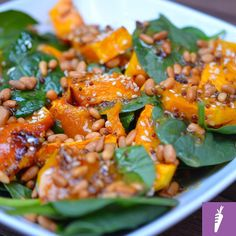 Sesame Pumpkin and Spinach Salad with Sweet Mustard Dressing  This hearty salad makes a great side dish. If you add some quinoa or cubed tofu it becomes a filling meal. The sweet mustard dressing compliments the sweetness of the pumpkin and the baby spinach creates a light freshness. Enjoy this salad either warm or chilled. It makes a great leftover dish too and contains nothing but wholefood FODMAP-friendly ingredients. This one is great for those who usually arent too keen on salads…