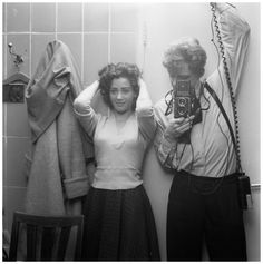 Author - Hans Buter - Hans Buter Rolleicord photographs with a girl in the mirror, ca 1960 Black Mirror, Author, Black And White, Photographs, Masters, Cameras, Jazz, Legends, Selfie