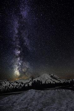 Milky Way and Mt Rainier by Mark Rainer