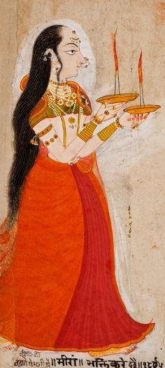 Saint Mirabai, a 16th-century Hindi Poetess and Devotee of Krishna. Painting by Pemji of Chittor,. India, Rajasthan, Mewar dated 1838. Color and gold on paper.  Santa Barbara Museum of Art