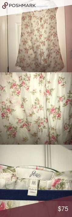 Joie white dress w roses Perfect condition! Comes with slip because the dress is sheer-ish. Such a sweet rose pattern! Looks even cuter with a belt to sinch at waist! Joie Dresses Midi