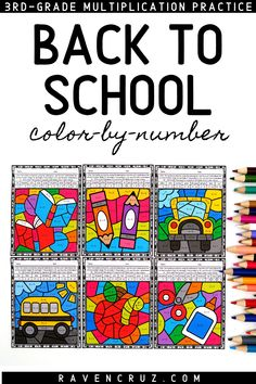 Start off back to school with these multiplication color by number worksheets. Perfect for 3rd-grade and 4th-grade math. #mathwithraven Multiplication Facts Practice, Math Games, Math Activities, Math Rotations, Math Centers, Homeschool Math, Homeschooling, School Stuff, Back To School