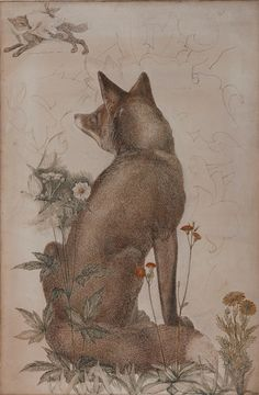 "Philip Webb. Painted in 1886/7- The Fox, study for the William Morris tapestry ""The Forest"""