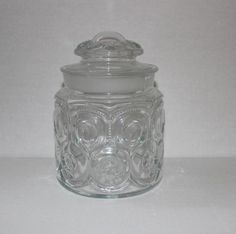 Moon and Stars Clear Glass Flour Canister LE Smith Small Jar Vintage & Rare