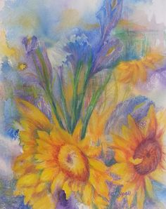 Sunflowers and Irises: I created a loose background on this painting, and painted the flower shapes into the shapes that came out of that, and developed the details with mixed mediums. flowers, nature, outdoors, flora, yellow, red, orange, blue, purple