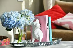 For coffee table/ottoman: A few pretty books between a decorative book end on a tray | Lovely living room touches