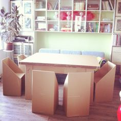 My cardboard furniture for family party