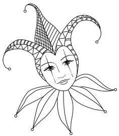 Afbeeldingsresultaat voor court jester color pages Colouring Pages, Adult Coloring Pages, Coloring Sheets, Coloring Books, Costume Venitien, Mask Drawing, Court Jester, Joker Card, Mardi Gras Decorations