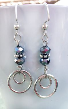 Costume Jewelry Silver Toned Fashioned Rings with beads Earrings #Handmade