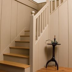I like this staircase, but would prefer it unpainted. It looks like the spindles are square Cottage Staircase, Small Staircase, Farmhouse Stairs, Staircase Railings, Wooden Staircases, Wood Stairs, Stairways, Farmhouse Style Kitchen, Modern Farmhouse Kitchens