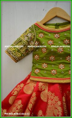 Hand Embroidery designs for kids lehenga Watsapp:8884346333