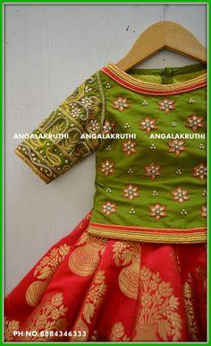 Hand Embroidery designs for kids lehenga Watsapp:8884346333
