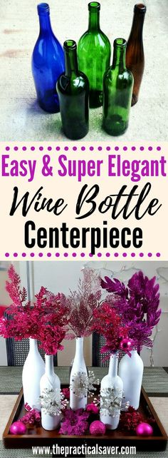 Wine Bottle Christmas Décor Centerpieclj ZZZ will senD lo. Elegant yet simple diy to beautify your table. Christmas DIY l Christmas ideas l frugal ideas table centerpiece l homemade centerpiece l homemade diy l easy diy l cheap diy