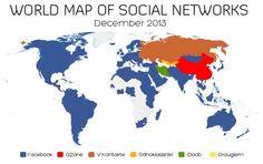 Diese Weltkarte zeigt die populärsten Sozialen Netzwerke der Welt!  http://vincos.it/world-map-of-social-networks/