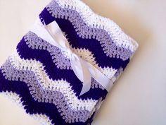 Baby blanket crochet lavender purple white ripple chevron by KK13