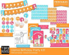 Llama Birthday Party Kit - instant download - print at home