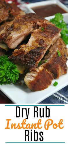 This easy Instant Pot pork ribs recipe uses baby back ribs and a dry rub to create tender juicy meat that falls off the bone. Try this recipe in your electric pressure cooker for the next big game or dinner party. #instantpot #ribs