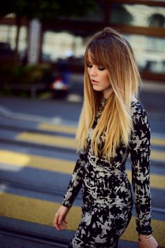 blonde ombre hair by kristina bazan...i'm not a huge fan of the ombre  thing, but i really like her hair style
