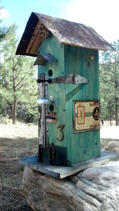 Tall Rustic BIRDHOUSE with Vintage Recycled Barnwood Architectural Salvage flower garden Assemblage. Bird House Feeder, Bird Feeders, Birdhouse Designs, Tin Tiles, Bird Boxes, Primitive Antiques, Architectural Salvage, Yard Art, Barn Wood