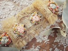 Antique roses and angel | | - Rococo antique British and French ribbon headband Eglantyne (Egurantinu)