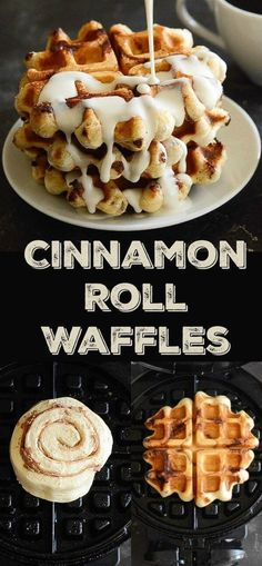 Cinnamon Roll Waffles: Try this crazy delicious waffle recipe using canned cinna… Cinnamon Roll Waffles: Try this crazy delicious waffle recipe using canned cinnamon rolls! Plus an easy recipe for an amazing maple cream cheese sauce to drizzle on top! Cinnamon Roll Waffles, Pancakes And Waffles, Cinnamon Rolls Waffle Maker, Cinnamon Roll Recipes, French Toast Waffles, Breakfast Waffles, Pillsbury Cinnamon Rolls, Cinnamon Roll French Toast, Savory Waffles