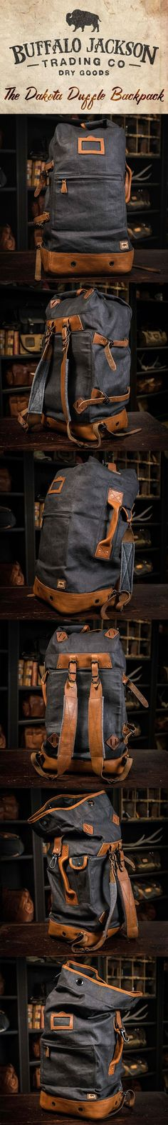 Crafted of waxed canvas and full grain leather with a distressed vintage finish, this men's vintage military duffle backpack was built to honor the memory of good men and good days. Also available in tan (shown here in charcoal). vintage military backpack | vintage duffle backpack