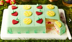 Get into the spirit of Wimbledon with a classic strawberry and cream filling dressed in colourful layers of fondant icing. Its so simple to make and a fun, baking project to get your little ones involved in.