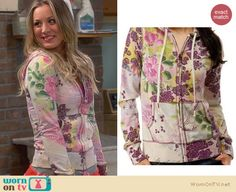 Penny's floral hoodie on The Big Bang Theory. Outfit Details: http://wornontv.net/24183 #TheBigBangTheory #fashion