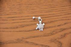 Turtle Tragus Earring Cartilage Earring Helix by heartsandmermaids Helix Cartilage Earrings, Ear Piercings Cartilage, Body Piercings, Piercing Tattoo, Rook Piercing, Ear Jewelry, Cute Jewelry, Body Jewelry, Tattoo