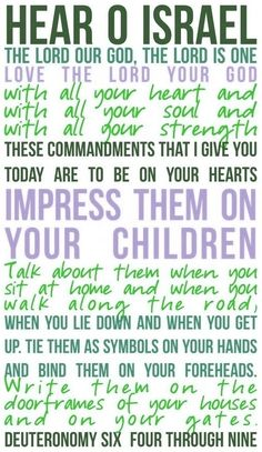 Deuteronomy 6:4-9. An imperative from a God who loves us so very much!