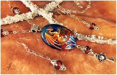 Stone painting- tiger dragon- necklace set by AlviaAlcedo.deviantart.com on @deviantART