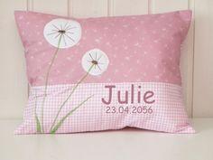 "Namenskissen - Namenskissen "" Pusteblume "" rosè incl.1.Name - ein Designerstück von Julies-Place bei DaWanda"