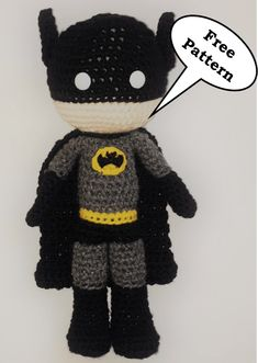 Free Batman Amigurumi Pattern (Crochet) - Daisy and Storm Crochet Amigurumi Free Patterns, Crochet Doll Pattern, Crochet Dolls, Baby Batman, Batman Free, Crochet Daisy, Cute Crochet, Batman Crochet, Batman Amigurumi