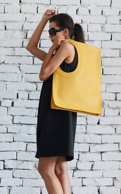 Yellow Large Leather Bag/Extravagant Tote Bag/Square Casual