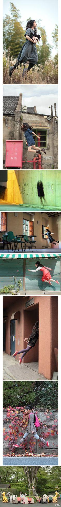 """日本女孩Natsumi Hayashi突发奇想,带着自己的单反相机在东京的大街小巷跳跃,拍下她""""漂浮""""的照片。虽然这不是什麽特别技巧,但是她说,""""就像地心引力般,繁重的社会压力影响着我们每一个人。希望借着这样飘浮在空中的照片,让烦重压力之下的大家也能感到一点自由吧。"""""""
