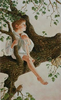Boy in the Tree watercolor from At the Back of the North Wind Lauren Mills Book Cover Art, Book Art, Children's Book Illustration, Woodland Illustration, Art Illustrations, Sculpture Art, Sculptures, George Macdonald, Watercolor Trees