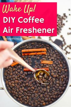 Get a jolt of energy and a bright start to your day with this easy DIY coffee smell air freshener. Scent your home with the invigorating aroma of java without having to brew a cup. Perfect for a quick pick me up. Homemade Air Freshener, Natural Air Freshener, House Smell Good, House Smells, Simmering Potpourri, Coffee Aroma, Coffee Cake, Make It Yourself, Java