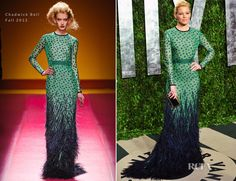 How amazing is this dress? Color combo, polka dots, and feathers?! Elizabeth Banks in Chadwick Bell Fall 2012