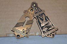 antique brass victorian eastlake hidden key hole cover slide front bird floral