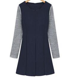 Sapphire Round Neck Splicing Long Sleeve Pleated Decor Dress