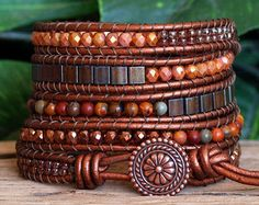 Beaded Leather Five Wrap Bracelet, Brown Copper Beaded Wrap, Tila Jasper Hematite Czech Glass Bead Bracelet, Boho Wrap, Artisan Leather Wrap Bracelets Diy, Homemade Bracelets, Beaded Wrap Bracelets, Beaded Jewelry, Hippie Jewelry, Diamond Bracelets, Pandora Bracelets, Beaded Leather Wraps, Bijoux Diy