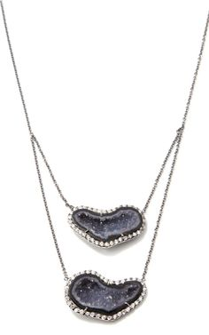 Double Dark Geode And Diamond Pendant In 18K White Gold With Black Rhodium by Kimberly McDonald for Preorder on Moda Operandi
