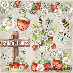 Bugs & Berries Clip Art Instant Digital Download by EarlyThymes