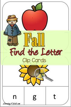 Let's welcome fall with a few fun preschool letter activities clip cards. Find the letter with your magnifying glass.